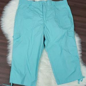 NWT Beautiful Ice Blue Plus Size Crop Pants